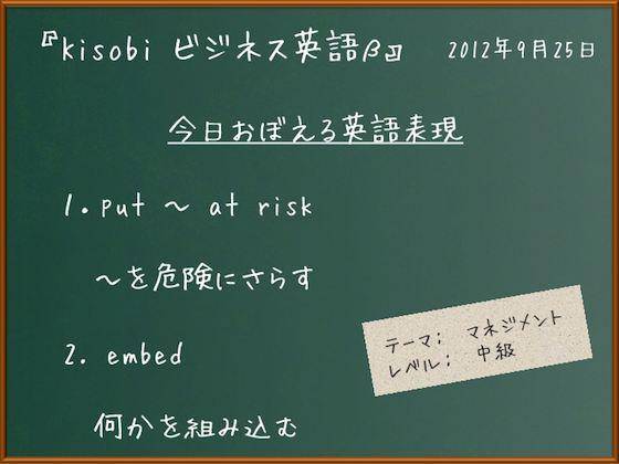 【Kisobi英語】put ~ at risk 「~を危険にさらす」/ embed「何かを組み込む」